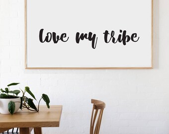 Love My Tribe Farmhouse Style Decal 6x33 saying Chunky Script Decor Vinyl Wall Decal Graphic