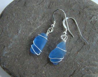 Cornflower Blue Sea Glass Earrings - Sterling Silver