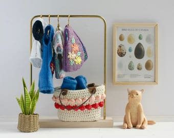 Miniature Clothing Rack - modern dollhouse furniture, minimalist furniture, 1:12 scale, mini clothing hangers, doll closet