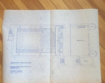Memorial Day Sale. Vintage 1983 Pittsburgh Public Theater Blueprints.