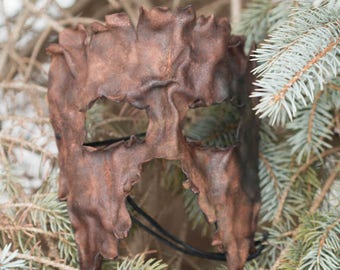 Brown Split Leather Bark Masquerade Mask