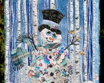 MarveLes PAPER COLLAGE PATTERN Floral Frosty Snowman Christmas Woodland Style Snowy Woods Aspen Tree White Plaid
