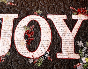 MarveLes Collage PAPER Quilt Pattern for LETTERS of JOY Table Runner Holiday Christmas Poinsettia Home Decor Black Red White Pine Berries