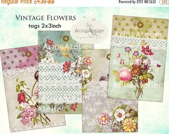 SALE - 30%OFF - Tags Vintage Flowers - Digital Tags - Download Collage Sheet - Printable Sheet - ATC Cards - Hang Tags - Gift Tags