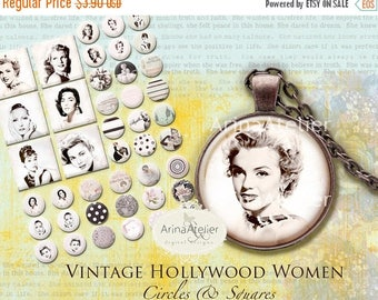 SALE 30%OFF - Vintage Hollywood women - Circle Microslides 1 inch - Circles Digital Collage Sheet for Jewellery, Magnets, Scrapbooking, and