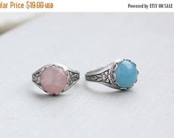 VACATION SALE- Rose Quartz Ring Or Blue Quartz Ring