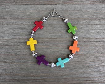 Multi Color Stone Cross and Pewter Bracelet