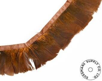 "Feather Trim - Turkey Marabou Feather Fringe Trims - Rustik Brown - 4""-4.5"" (1 yard)"