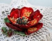 Hand felted brooch pin - Red  Poppy