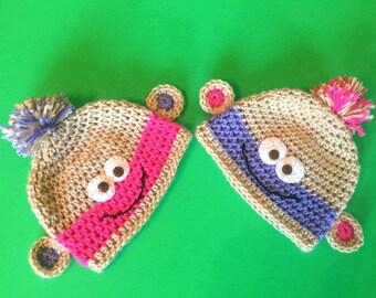 Baby Hat, Crochet Baby Hat, MONKEY Crochet Baby Girl Hat, Baby Girl Hat, Beanie Baby Hat, Baby Shower Gift