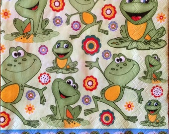 Decoupage Napkins, 4+1 FREE Single  Paper Napkins, HAPPY FROGS, 13 inches (33 cm) for Decoupage, Paper-Craft and Collage