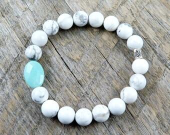 White Howlite Bracelet, Bead Bracelet, White Stone, Hill Tribe Silver, Leaf Bracelet, Amazonite Beaded