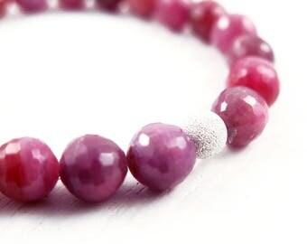Ruby Bracelet, Beaded Bracelet, Gemstone Bracelet, Ruby Gift, July Birthstone, Boho Luxe, Anniversary Gift for Her