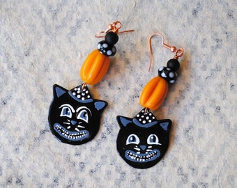 Black Cat Earrings, Halloween Earrings, Scarry Spooky Earrings, Artisan Enamel Earrings, Lampwork Glass Bead Earrings, Whimsical Earrings