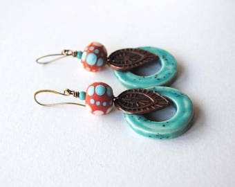 Leaf Earrings, Ceramic Earrings, Lampwork Bead Earrings, Boho Chic Earrings, Orange Turquoise Earrings, Southwestern Colors, Artisan