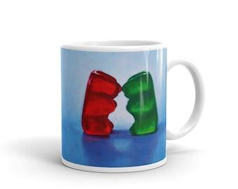 Gummy Love 11oz Mug, gummy bears, kitsch, romance, humor, funny, unusual, sweet, candy, unique, coffee, relationship, cute, fun, kiss, heart