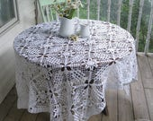 Lace Crochet Large Tablecloth, Hand Crochet Rectangular Large Tablecloth, Bed Spread, Shabby Cottage, Heirloom, by mailordervintage on etsy