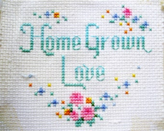 Cross Stitch Love Piece for Wall Decor, Sewing, Altered Projects, Needlework, Art Needlework, Vintage Wall Decor,by mailordervintage on etsy