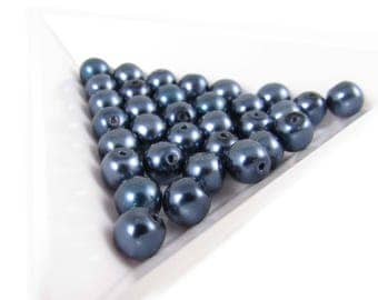 "6mm dark blue pearl-coated Czech glass druk 8"" strand (33 beads). Wedding, bridal, bridesmaids jewelry, elegance, Mother's Day"