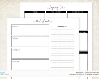 Black and White Meal Planner + Grocery List Kit Printable