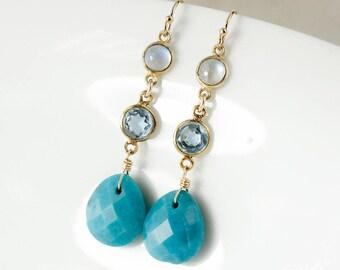Gold Rainbow Moonstone, Blue Topaz, and Blue Turquoise Drop Earrings - 14Kt GF - Long Dangle Earrings