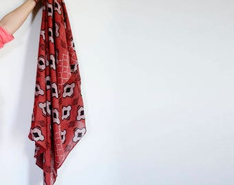 Scarf for women, Gift for her, Red scarf, cotton silk scarf, wholesale, Block Print ichcha, natural dye, beach sarong, Red shawl, wrap- Hopi