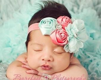 Coral and Aqua Headband, Satin & Chiffon Flowers w/ Rhinestones Headband or Hair Clip, Flower Girl Headband, Wedding, Child Girls Headband