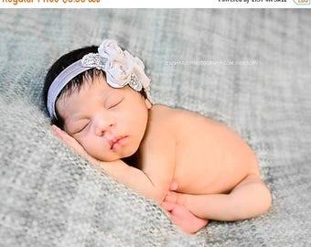 Gray Flower Headband, Chiffon Flower Trio w/ Pearls Stretchy or Hard Headband, Baby Headband, Wedding, Newborn Infant Child Girls Headband