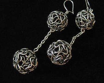 Chain Ball Brutalist Earrings, Silver Tone