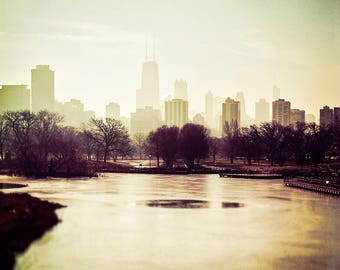 Chicago Skyline, Cityscape Art, Chicago Wall Art, Lincoln Park Art, city photography, Burgundy, beige, foggy skyline, north pond, photograph