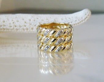 14K Yellow Gold over Sterling Silver 925 Wide Cable Diamond Accent Eternity Band Ring
