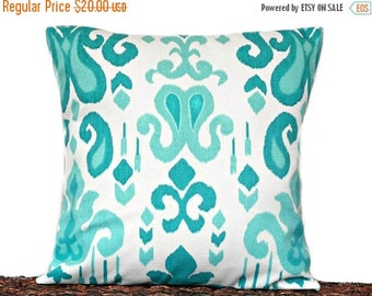 Christmas in July Sale Turquoise Ikat Pillow Cover Cushion Teal White Decorative 16x16