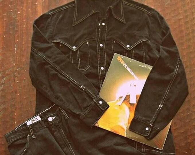 WINTER SALE Vintage 70s black denim suit  'The Man in Black' / snap button jacket shirt / white stitching western Boho Mens jacket and pants
