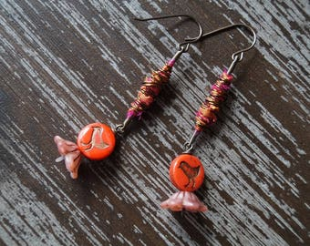 Red Chick Earrings - Sari Silk Earrings - Red and Pink - Boho Drop Earrings - Bead Soup Jewelry - Bird Earrings