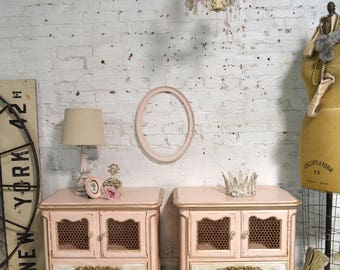 Painted Cottage Chic Shabby Romantic French Pair of Night Tables NT922