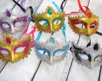 6 piece lot of Mask mardi gras  masks masquerade party favors centerpieces wedding  sweet 16 quinceanera Fast Free Shipping