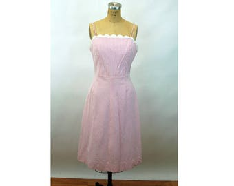 Lilly Pulitzer sundress striped seersucker pink white scalloped bodice cotton Size 10  M/L  1990s