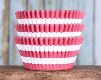 Red Stripe Cupcake Liners, BakeBright Cupcake Liners, Red Cupcake Liners, Red Baking Cups, Red Cupcake Cases, Cupcake Wrappers (50)
