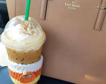 crochet coffee cozy, fall crochet cozy, coffee sleeve,teacher gift, autumn coffee cozy, fall coffee cozy, pumpkin spice latte,plaid mug, psl