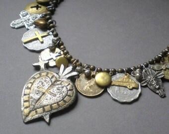 ON SALE Abundance.. Milagro Heart Statement Necklace..  Artisan Hand Made Collage. Ex Voto .Peru Mexico. Blessing Necklace. Frida Kahlo