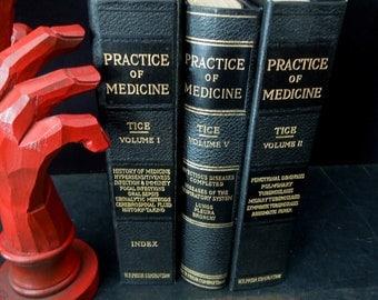 1920's International Medical Digest Books - Practice of Medicine Vintage 3 Book Stack - Gift Medical Doctor Student Nurse M.D.