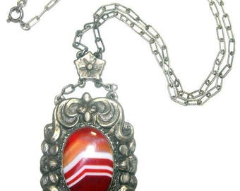 CIJ SALE Christmas JULY Stunning  Rare Victorian Renaissance Ornate Silver Old Chinese Orange Banded Agate  Vintage Antique Necklace