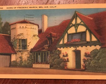 Vintage postcard featuring home of Frederic March, Bel-Air California 1947