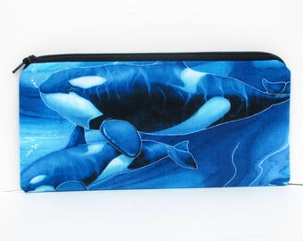 Zippered Pencil Pouch, Blue Sea Orca Whale, Whales of the Pacific Ocean