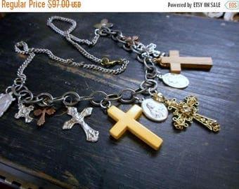 SALE DEMONS Protection Talisman. Vintage Relics, Crosses Religious Trinkets Bohemian Talisman Assemblage Chunly Statement necklace