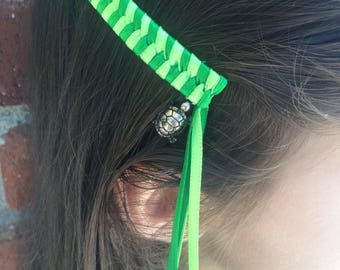 Green Turtles Retro Streamer Barrettes