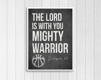 Basketball Decor - 12x18 Sports Poster - Bible Verse Printable - Mighty Warrior - Basketball Room - sports decor - man cave - coaches gift