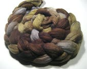 Merino wool & tussah hand dyed roving - hand painted spinning felting fiber - 4.3 oz Skipping Stones - combed wool top - earthy wool to spin