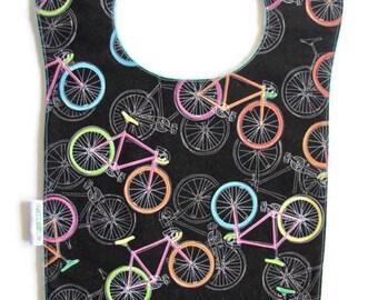 Bib, Large Bib, Bicycles, Toddler Bib, Baby Bib, Food Bib, Reversible Bib, Minky Bib, Oversized Bib, Ready to Ship, Baby Shower Gift