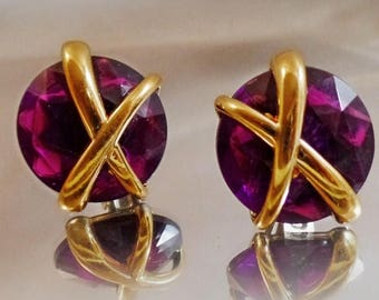 SALE Vintage Purple Rhinestone Earrings.  Gold X Purple Button Earrings.